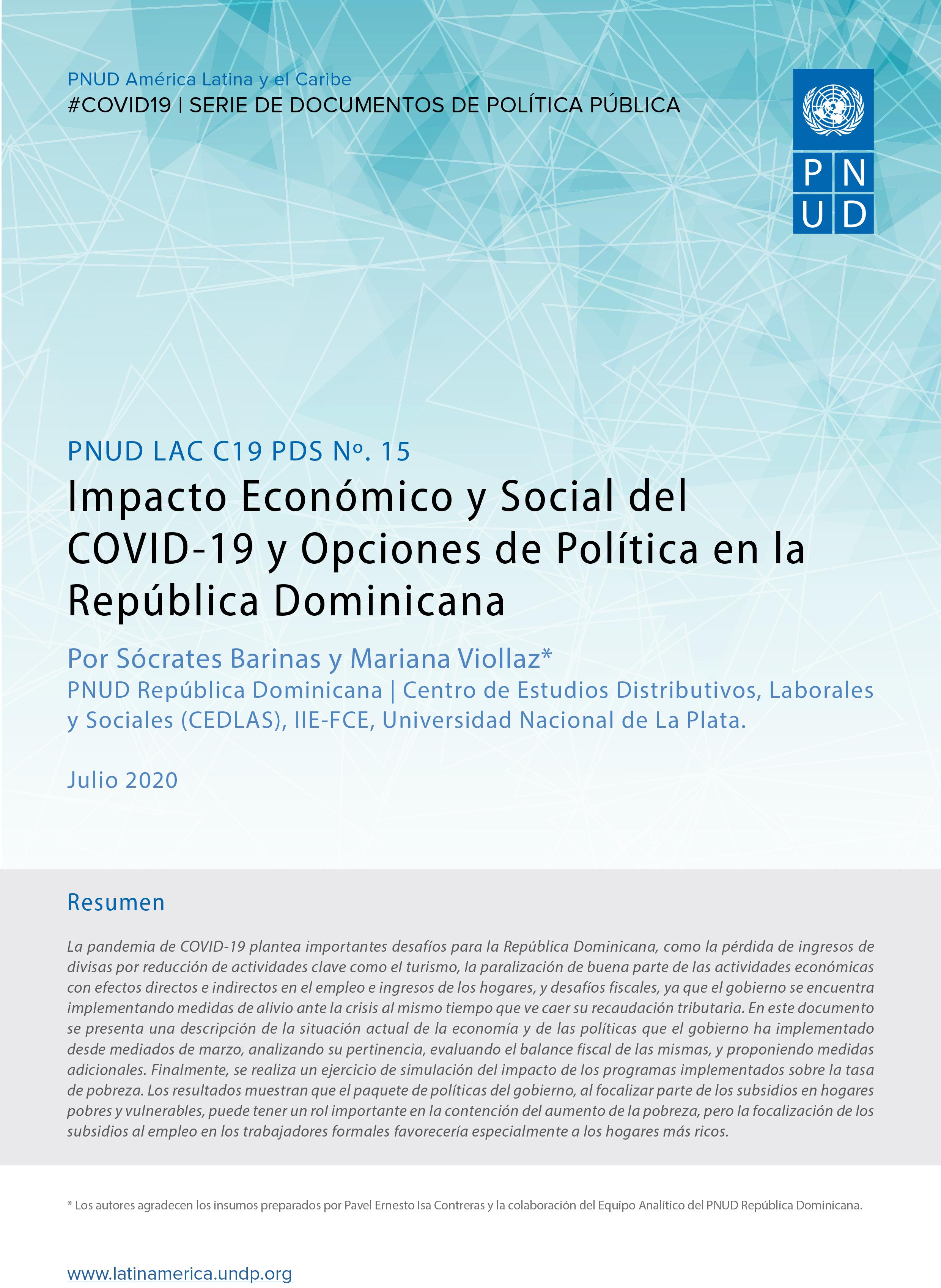 Impacto Económico y Social del COVID-19 y Opciones de Política en la República Dominicana